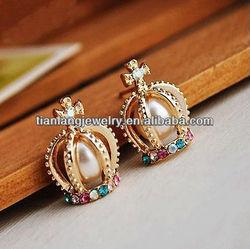 Hot sale european palace noble colorful diamond crown pearl earrings
