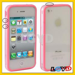 Newest design Bumper Frame TPU + PC Case with Keys for iPhone 4/cheap bumper frame case for iphone 4 4s(Pink)