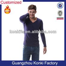Hot Sale OEM Blank Cotton Long Sleeve V Neck T Shirts for Men