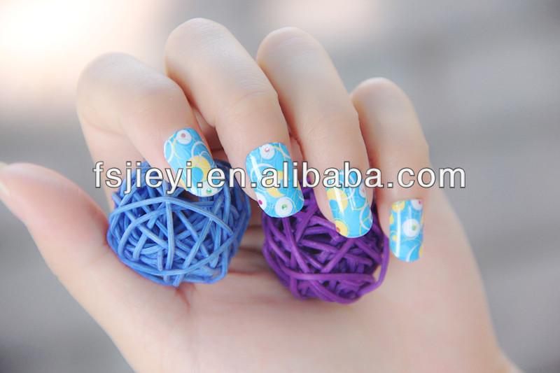 blue round self adhesive nail polish sticker&nail shell sticker for nail art