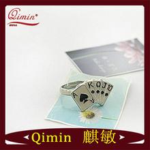 Korea Metal Girl Playing Card Adjustable Ring