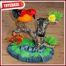 Sound control singing birdsfunny plastic bird ringing animated plastic singing bird toys