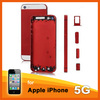 Red color change back cover for iphone 5 back cover housing replacement+ white top & bottom glass