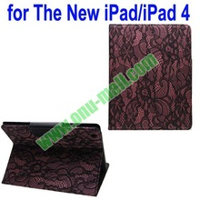 Lace silk Texture Leather Case for iPad 4 with 4 Gears Holder