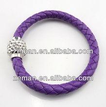 NEW Purple Leather Wrap Wristband Cuff Punk Magnetic Rhinestone Buckle Bangle Bracelet