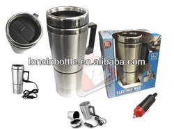2 in 1 set stainless steel electric car mug with usb Adapter ,12V Insulated Stainless Steel Car Electric Travel Mug