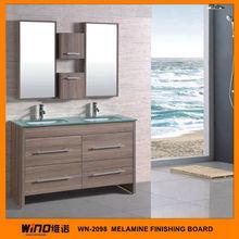 Western style Melamine board modern rattan bathroom furniture