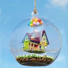 DIY mini house model wholesale glass christmas ornaments
