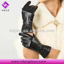 Hot sale black sheepskin three buttons bike glove