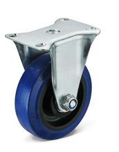 Plastic core fixed elastic rubber caster wheel