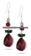 Handmade Natural Ruby & Emerald Gemstone Beaded Earrings