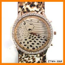 Newest Rhinestone PU Leather Leopard Print Woman Watch Wholesale ZTWH-3269