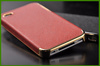 Top quality case For iphone 4 4s Twill stick a leather case cover luxury Plating silver edge