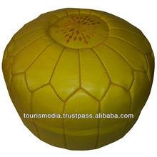 Yellow handmade moroccan leather pouffe ottoman pouf footstool