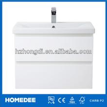 27.5'' high Gloss White oak thin bathroom vanity