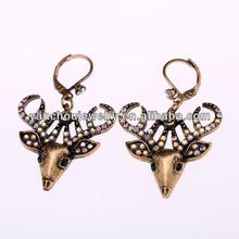 Hot design antique gold deer earring