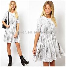Smock Dress Swing In Cracked Print (M9049)