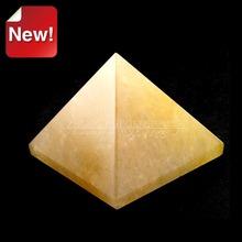 30*30*19mm natural yellow jade intelligence pyramid