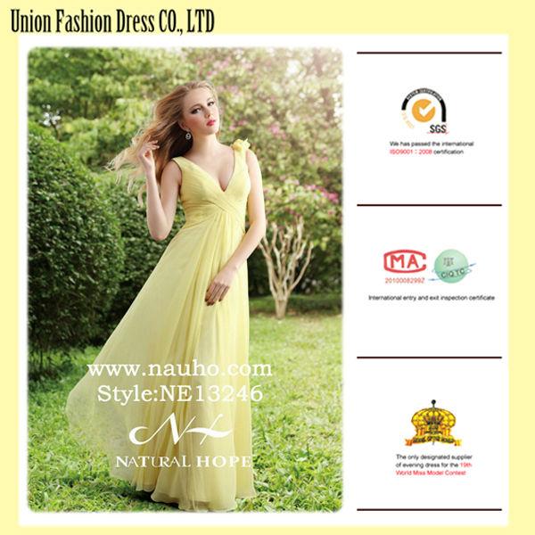 Sexy deep v-neck women evening dress 2015 long turkish evening dresses of yellow chiffon vestidos amarillos largos
