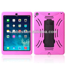 New Arrival Hybird Hard Case For iPad Air With Stand,Combo PC+Silicone Defender Case For iPad Air
