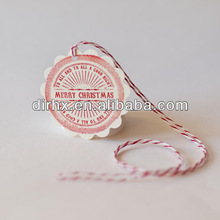 Pre-strung Red scalloped Ivory Cardstock Merry Christmas Tags