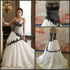 2014 New Arrival Sweetheart Satin Mermaid Black Applique White Wedding Dress