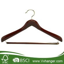 LH240 Deluxe Wooden Suit Hangers with Locking pants bar golden hook