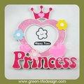 polyresin colorato cuore con Crown Princess foto cornice