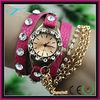 Elegant alloy leather bracelet ladies multiple crystal diamond watch