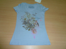 Ladies Short Sleeve tops, Ladies flower print t-shirt, Cotton Solid dyed