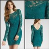 Glamorous See Through Lace Long Sleeve Bateau Collar Sequined Beaded Sheath Min Fashion Sexy Party Dress