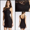 Sexy Lace Scoop Sleeveless Sequined Fitted Sheath Black Short Tight Party Dress