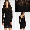 Captivating Jewel Collar See Through Long Sleeve Sequined Fitted Sheath Short Black Lace Party Dress