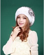 2013 london style winter women's rex rabbit hair fur fashion flower hat