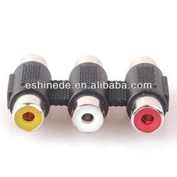 3 RCA Female to Female F/F C Converter Adapter