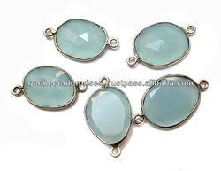 Aqua Blue Chalcedony gemstone wholesale connectors supplies , free form connectors , silver connectors