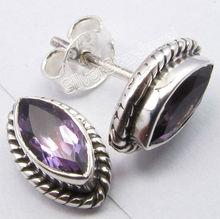 925 Solid Silver Elegant AMETHYST Lightweight Lovely Studs Post Earrings 1.1CM