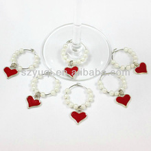 hot and trendy Heart Wine Glass Charms Wedding Party Favour