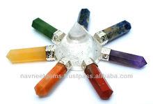 NGM252 Silver Six Pyramid charkra pendant Supplier, gemstone healing point pendulum chakra pendant