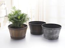 Golden MT01 wood-like plastic hand painting flower pot,square Hand painted pots ,garden planter wholesale supplier