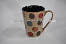 10oz reactive glaze hand paint dots wholesale ceramic smart mug/mug factory