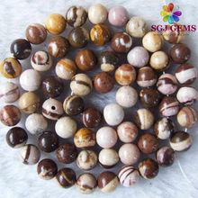 8mm Round Multi Color Australian Zebra Jasper Beads in Bulk