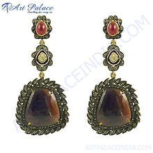 Heavy Vintage Style Diamond & Sapphire Stones In Victorian Earrings Jewelry, 925 Sterling silver