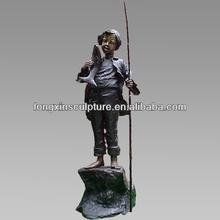 Outdoor Life Size Bronze Boy Fishing Sculpture For Garden Decoration