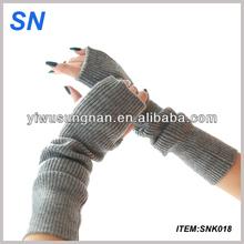 hot fashion Lady Winter Wrist Arm Warmer Faux Rabbit Fur Knit Knitted Fingerless Long Gloves
