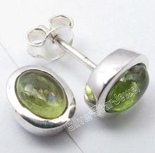 925 Pure Silver Natural PERIDOT 5x7 MM Oval Gemstones Pretty Stud Earrings 0.9CM