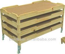 Preschool Furniture Solid Wood Stackable Bed