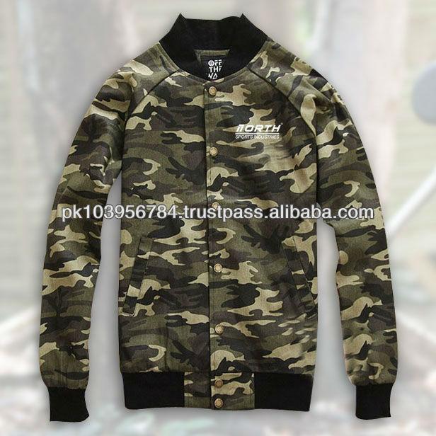 Camo Varsity Jacket, Camouflage Cordura Jacket With Leather Sleeves, Custom Camo Varsity Jacket