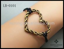 Popular Unique Design Heart Bracelet Friendship Antique Bronze Cute Charm Bracelet Black Wax Cord Personalized Jewelry Wholesale