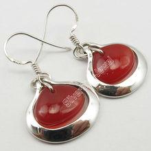 925 Sterling Silver CARNELIAN HEART Cabochon Gems Stylish Dangle Earrings 3.2CM